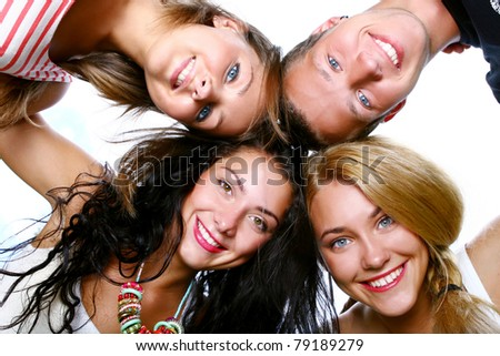 Group of beautiful and cheerful teenagers