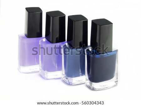 Group of bright nail polish blue colors fashion on white
