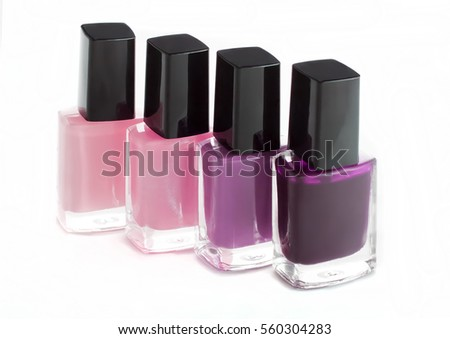 Group of bright nail polish colors fashion on white