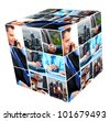 Group of business people. cube collage background. - stock photo