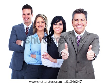 Group of business people. Success. Businessman. Isolated on white background.