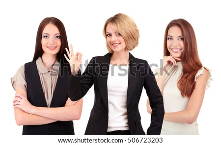 Group of business women on white background. Business training and strategy concept.