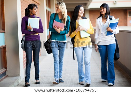 group of college students walking to lecture hall