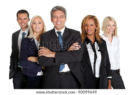 Group of confident multi racial business people standing against white background
