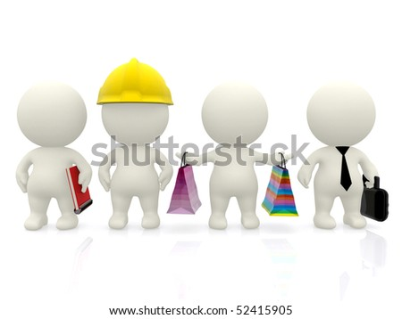 Group of 3D people with different professions isolated over white