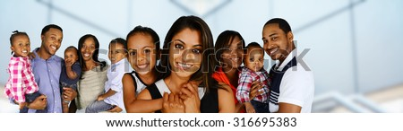 Group of different families together of all races