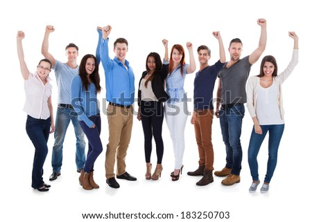 Group of diverse people raising arms. Isolated on white