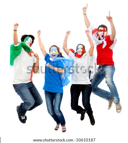 Group of football fans with their faces painted jumping - isolated over white