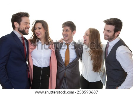 group of friendly business people talking and laughing