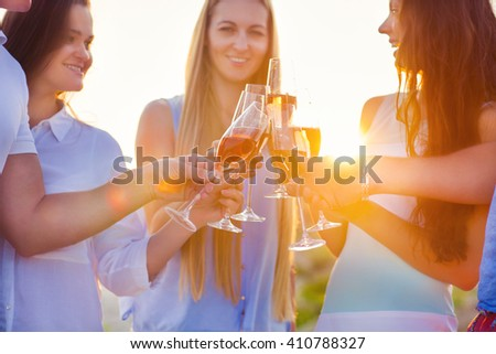 Group of friends toasting champagne sparkling wine at a relax party celebration gathering at the beach