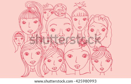 Group of Girls Faces Hand Drawn Illustration Pink Illustration of various female faces in a group with different hairstyles and jewelery.