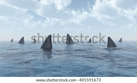 Group of great white sharks Computer generated 3D illustration