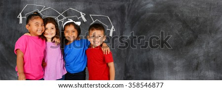 Group of happy young children who are at school