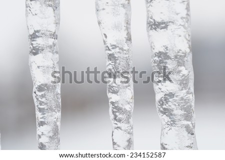 Group of icicles hanging