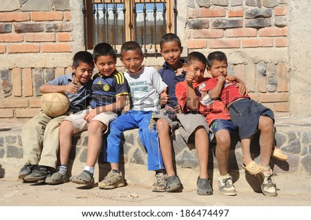 Group of indian boys at Ataco on El Salvador, , 22 February 2014