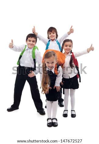 Group of kids happy about going back to school - isolated