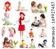 Group of kids or children paint brush or fingers - stock photo