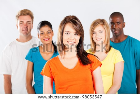 group of multicultural college students on white background