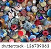 Group of old generic clothing and textile buttons as a fashion design concept for the garment business and apparel industry as a symbol of creative tailoring and dress making. - stock photo