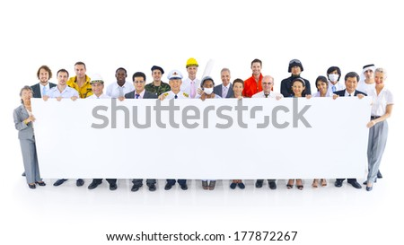 Group of People Holding White Board