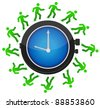 group of people running around the clock illustration design - stock photo