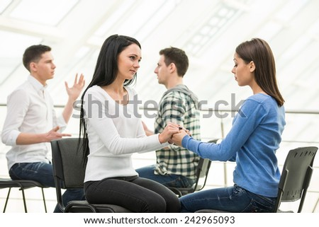Group of people support. Discussion in small groups.