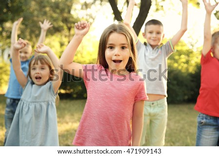 Group of playful kids in park