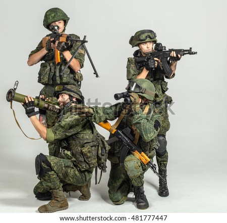 Group of russian soldiers  on white background
