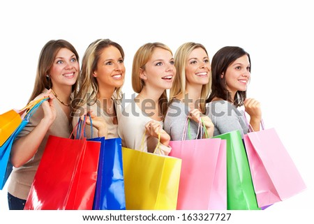 Group of shopping people isolated over white background.