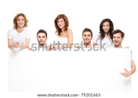 group of smiling friends advertising blanck banner