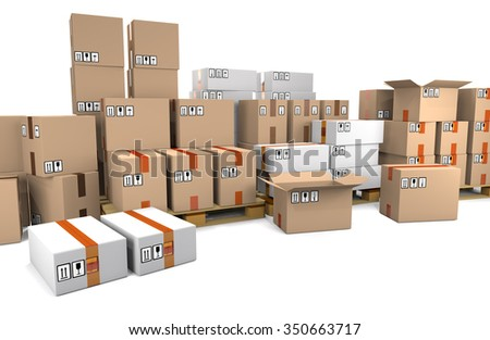 Group of stacked cardboard boxes on wooden shipping pallets isolated on white background.
