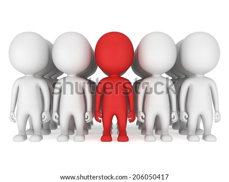 Group of stylized white people with red teamleader stand on white. Isolated 3d render icon. Teamwork, business, army, out of crowd concept.