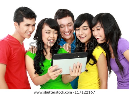 Group of Teenager Friends, one of them hold tab