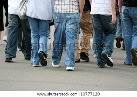 Group of teenagers walking together