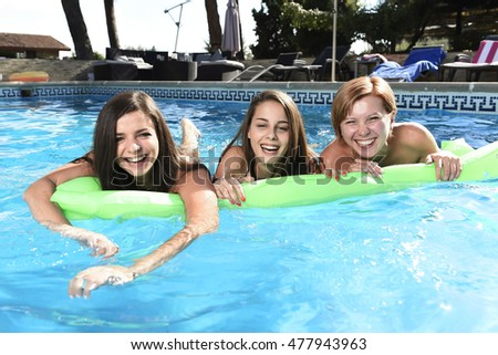 Portrait Cheerful Young People Playing Swimming Stock Photo 212092735 Shutterstock