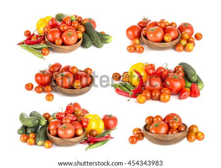 Group of tomatoes isolated on white background