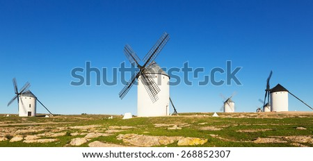 Group of  windmills in Campo de Criptana in sunny day time.  Spain
