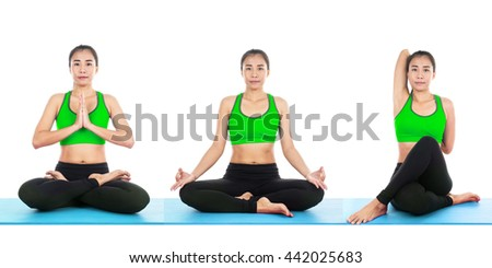 healthy group three people doing fitness stock photo