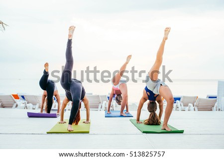 group free exercise class people different stock photo