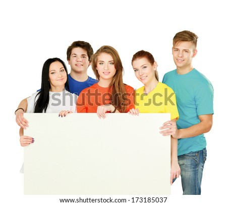 group of young people with a white banner, isolated on white background