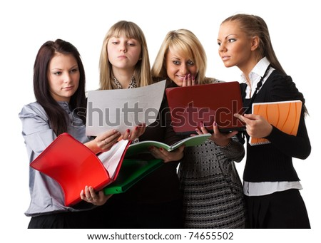 Group of young  people with writing-books on a white background. Students.