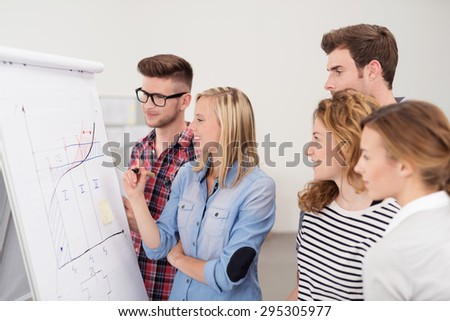 Group of Young Professional People Looking at the Conceptual Graph on Poster Paper Closely Inside the Office.