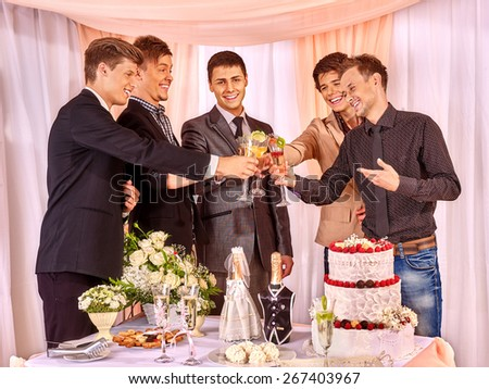 Group people at stage party before wedding. Only men friend.