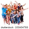 Group sport fan cheer for. Isolated. - stock photo