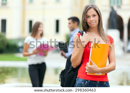Groups of happy college students outdoor