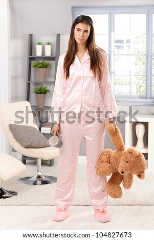 Tired Woman Getting Ready Business Work Stock Photo