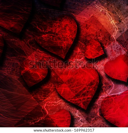 Grunge background with big red heart