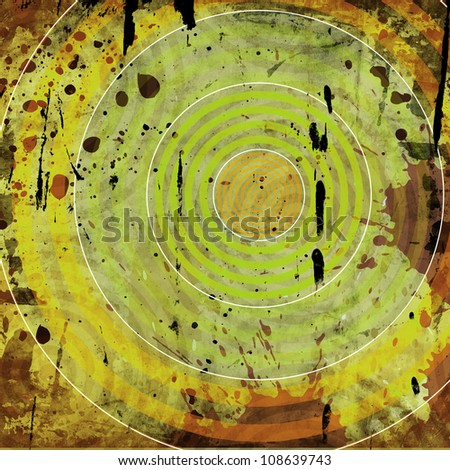 grunge background with colorful circles