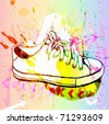 grunge background with sneakers - stock vector