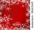 Grunge background with snowflakes in red colour. Raster version - stock photo